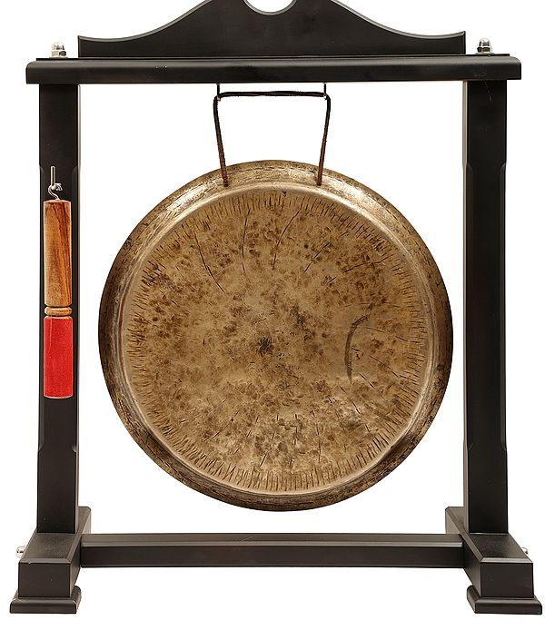 """22"""" Suspended Bronze Gong With Wooden Mallet 