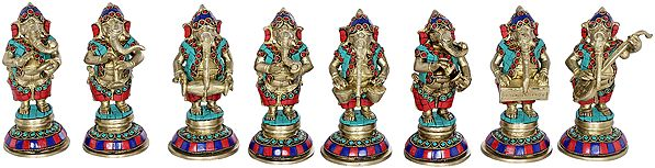Set of Eight Musical Ganeshas