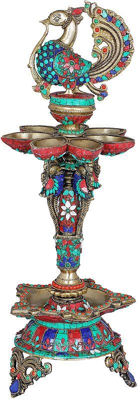 Inlay Peacock Twelve Wicks Lamp