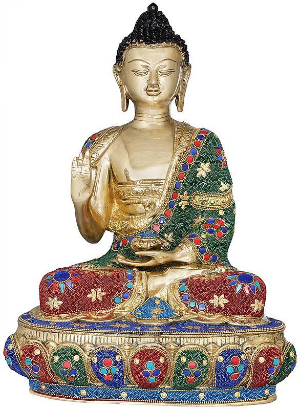 Tibetan Buddhist Lord Buddha Decorated with Inlay Pearls