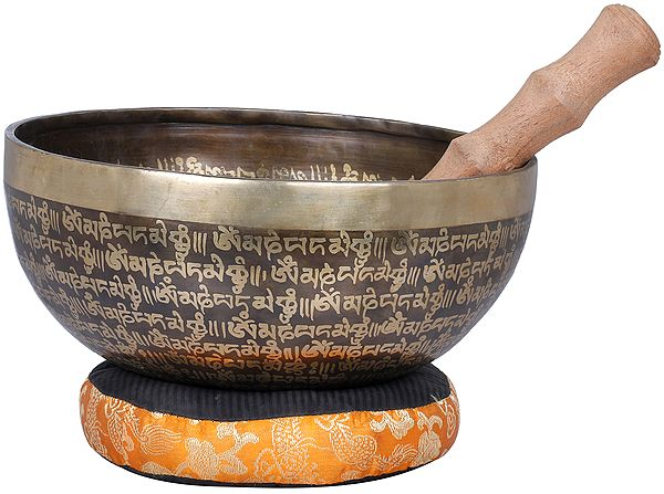 Yin-Yang and Auspicious Mantras Tibetan Buddhist Singing Bowl - Made in Nepal