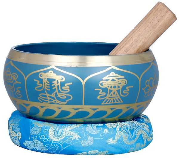Tibetan Buddhist Double Dorje and Ashtamangla Singing Bowl