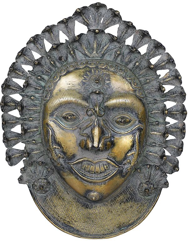 Superfine Large Bhairava Mask Wearing Serpents Crown - Wall Hanging