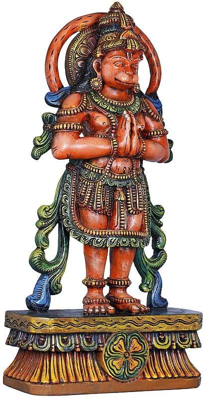 Namaskaram Hanuman, His Tail Swishing In A Circle Behind His Head