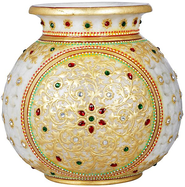 Tea Light Lamp Marble Pot with Cut Work