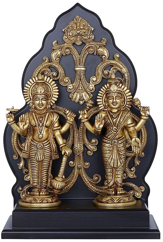 Lakshmi-Narayana Mounted On Wall-Hanging Wooden Aureole