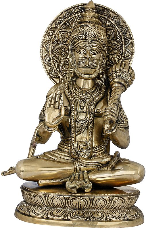 Blessing Lord Hanuman with Large Halo