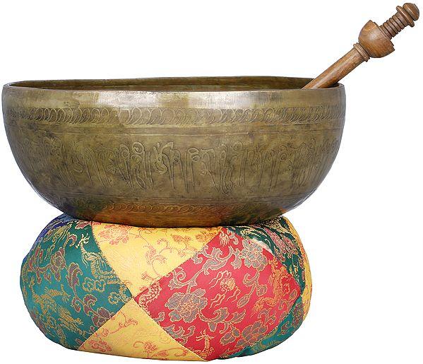 Large Singing Bowl with Image of Buddha in Dharmachakra Mudra - Tibetan Buddhist