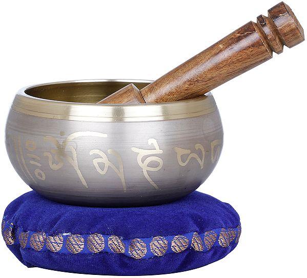 Tibetan Buddhist singing Bowl with Image of Earth Touching Buddha