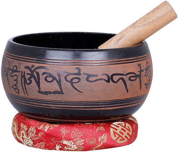 Singing Bowl Engraved with Five Dhyani Buddhas and Lotus -Tibetan Buddhist
