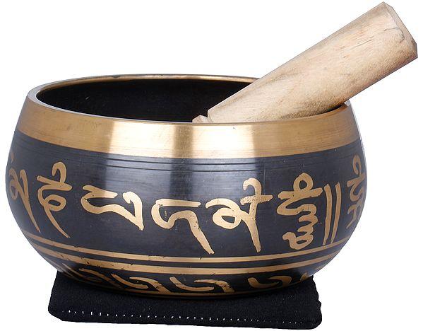 Tibetan Buddhist Singing Bowl with Five Dhyani Buddhas Inside