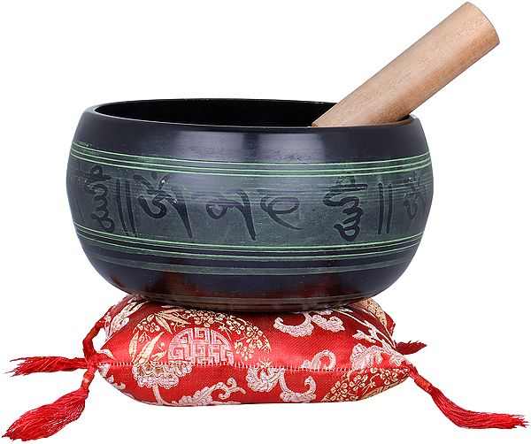 Singing Bowl with Five Dhyani Buddhas and Mantras - Tibetan Buddhist
