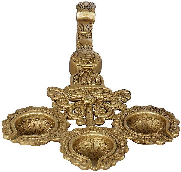 Handheld Arti with Three Diyas