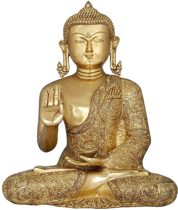 Lord Buddha in Finely Carved robe - Tibetan Buddhist