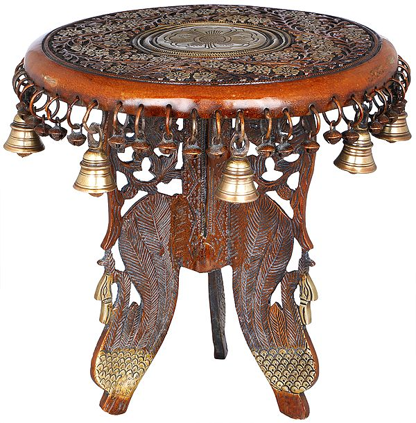 Floral Ritual Pedestal with Peacock Legs, Bells and Ghungroos