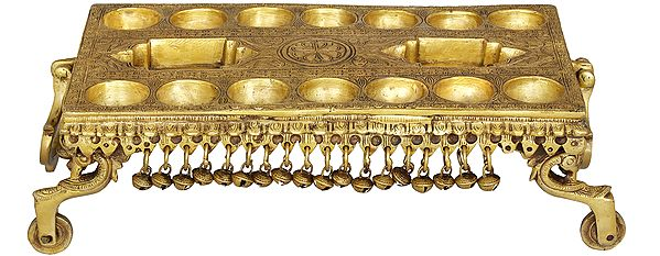 Traditional South Indian Game Pallanguzhi Brass Board with Wheels