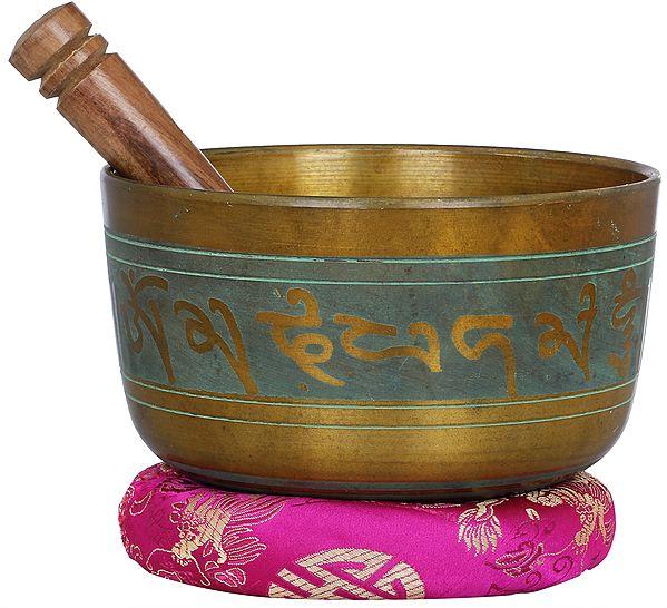 Tibetan Buddhist Singing Bowl with Bhumisparsha Buddha Engraved Inside
