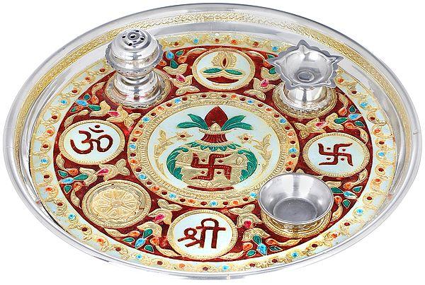 Decorated OM Shree Puja Thali