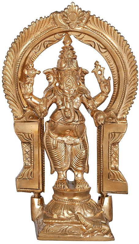 Four Armed Ganesha Standing Against the Arch