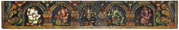 Five Different Manifestations of Lord Ganesha - Large Panel