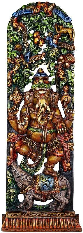Chaturbhuja Dancing Ganesha with Arched-Shaped Vegetative Aureole