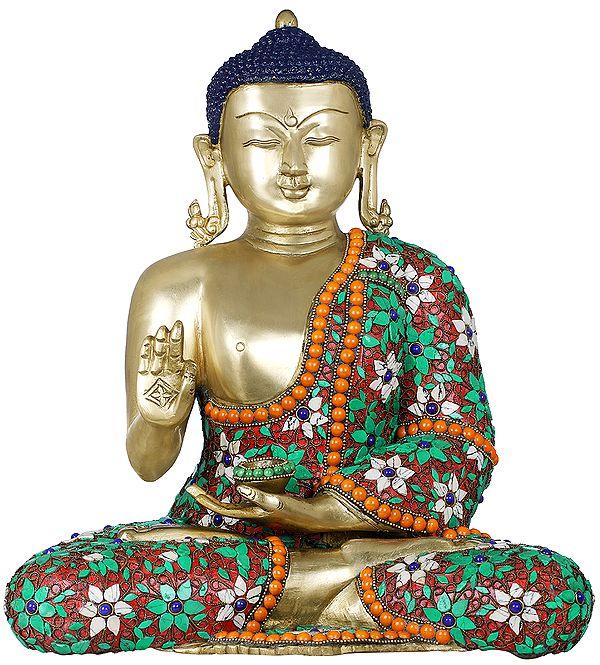 Tibetan Buddhist Lord Buddha with Floral Inlayed Robe
