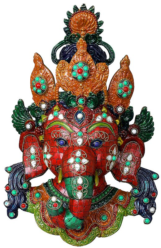 Ganesha Mask in Nepalese Style Inlay Work - Wall Hanging