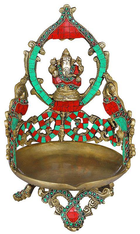Shri Ganesha Peacock Lamp