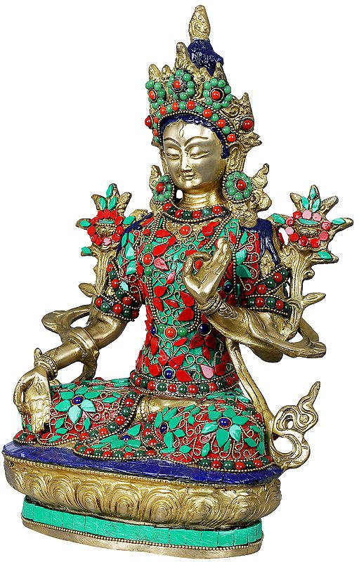 Richly Inlaid Seven-Eyed White Tara