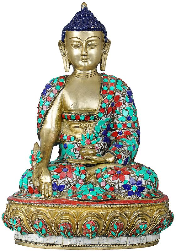 Tibetan Buddhist Medicine Buddha with the Bowl of Medicinal Herbs