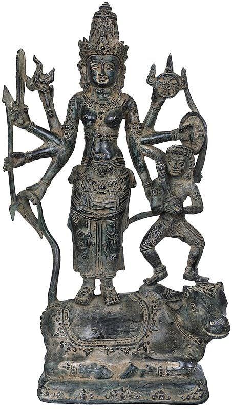 Goddess Durga with Bhairava Standing on Nandi