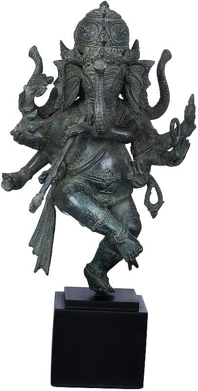 Three Headed Musical Ganesha Playing a Flute