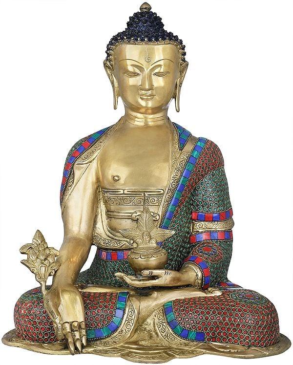 Tibetan Buddhist Healing Buddha With Herbs  (Medicine Buddha)