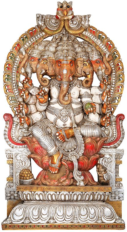 Panchamukha Lord Ganesha In Silver And Red