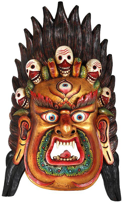 Large Wrathful Mahakala Mask - Tibetan Buddhist Wall Hanging from Nepal
