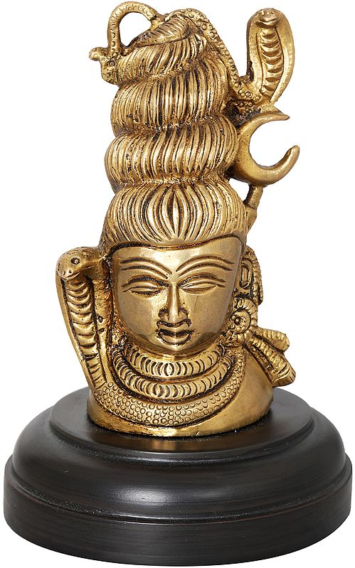 Small Shiva Head on Wooden Stand