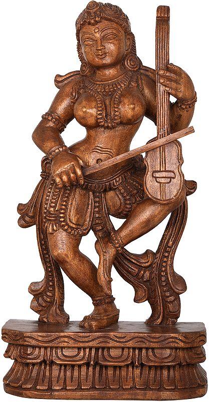 Dancing Apsara Playing a Violin