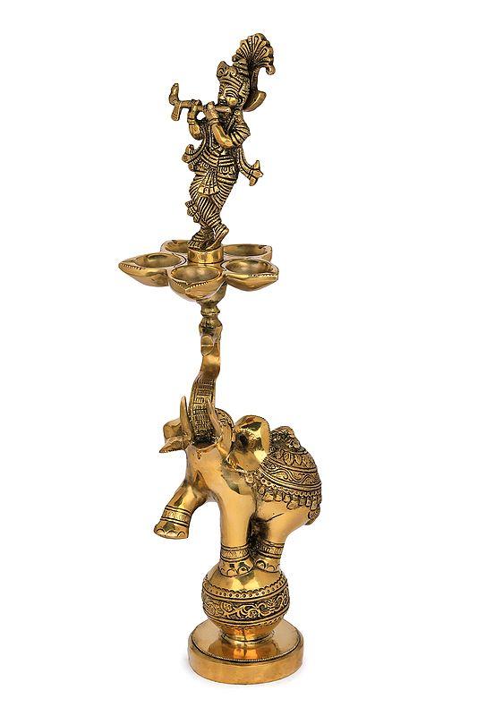 Lord Krishna Lamp on The Tusk of Acrobatic Elephant