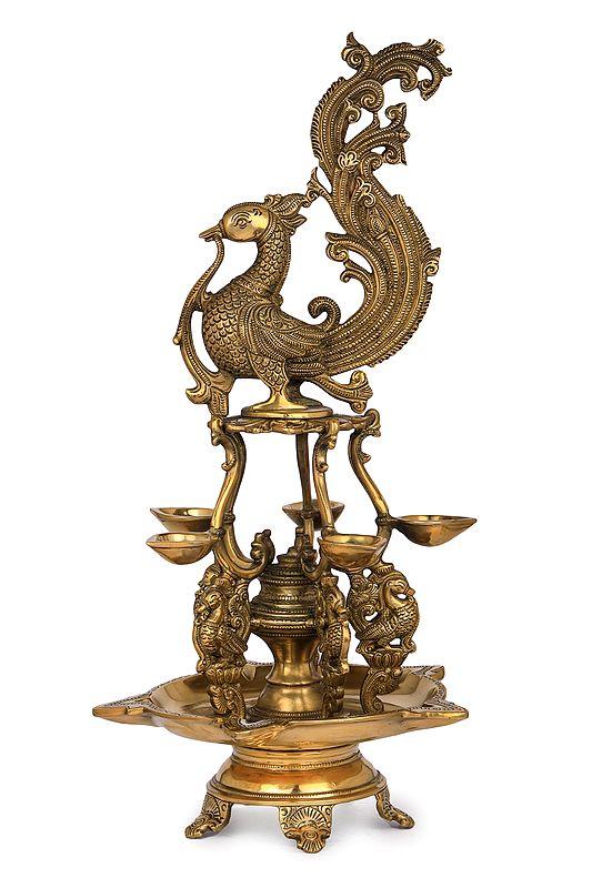 Ten Wicks Designer Peacock Lamp