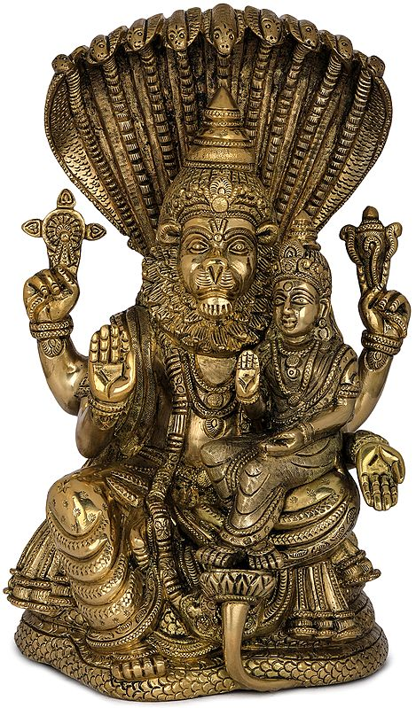Fine Quality Narasimha with Lakshmi (The fourth Avatar of Lord Vishnu)