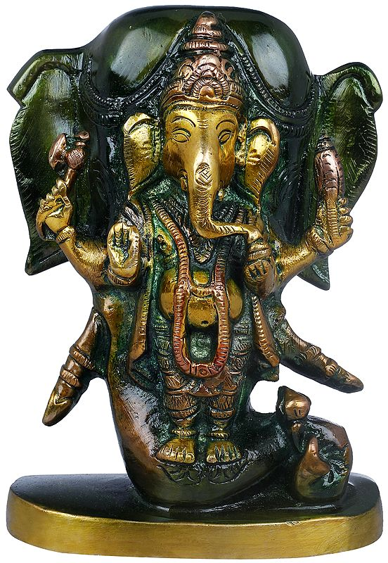 Lord Ganesha Standing in the Backdrop of Elephant Head