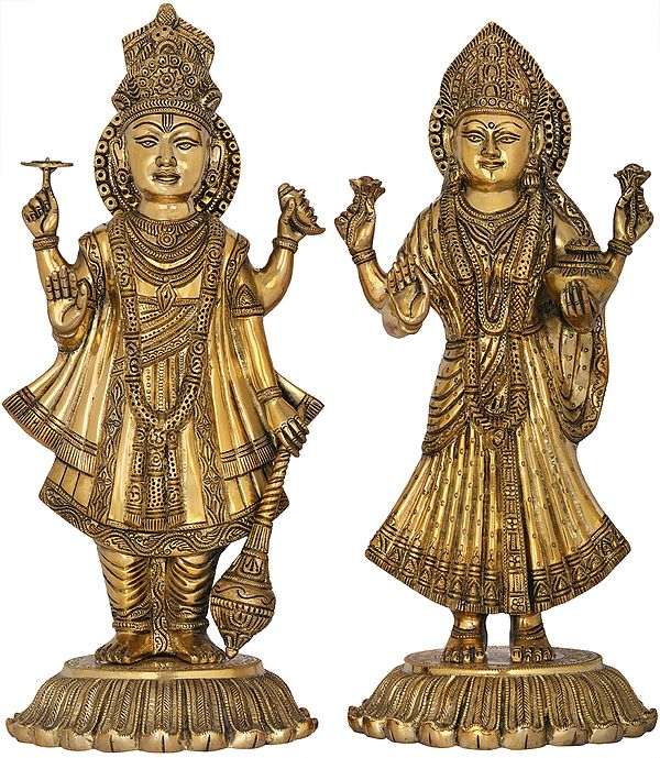 Standing Lord Vishnu And Devi Lakshmi On Upturned Lotus Blooms