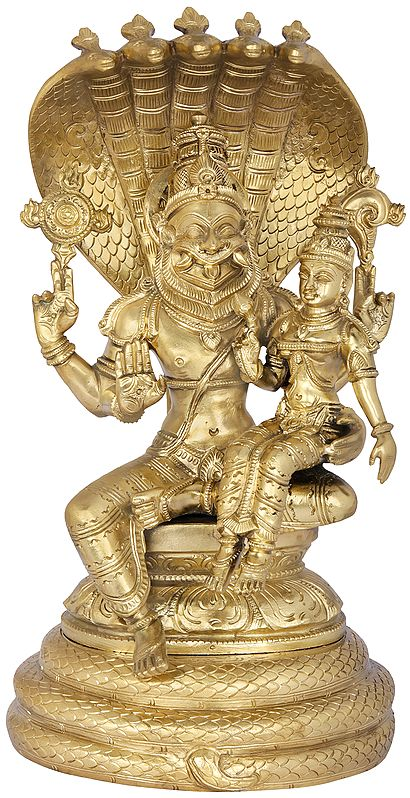 Lord Naramsimha With Devi Lakshmi And Sheshanaga Aureole