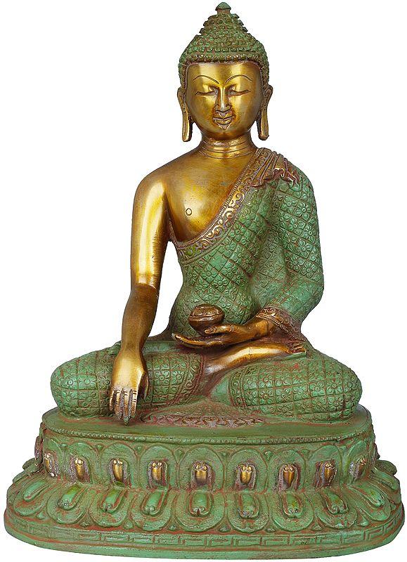 Lord Buddha Wearing Vishwa-Vajra Carved Robe - Tibetan Buddhist