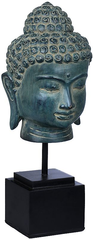 Lord Buddha Head on Wooden Stand