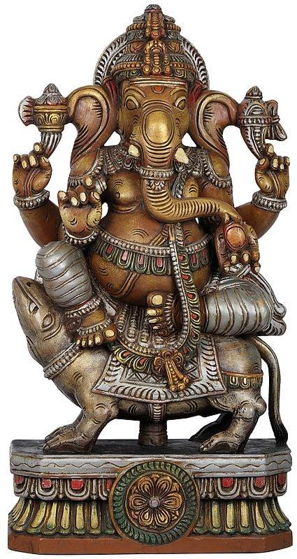Sri Ganesha Seated on His Rat
