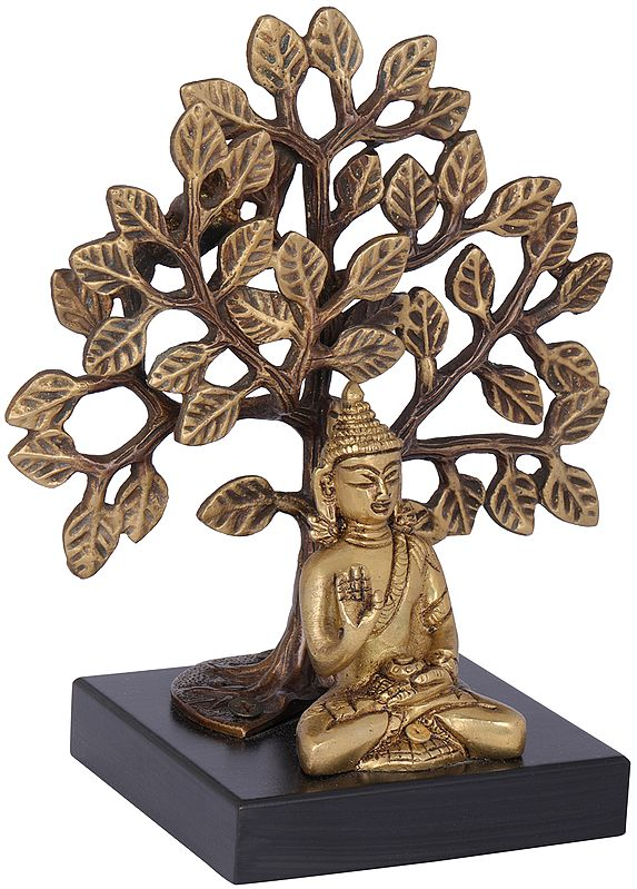 Bodhi Tree Buddha On A Wooden Pedestal