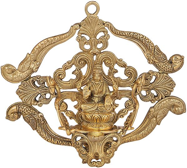 Wall Hanging Goddess Lakshmi on Vimana with Attached Lamp