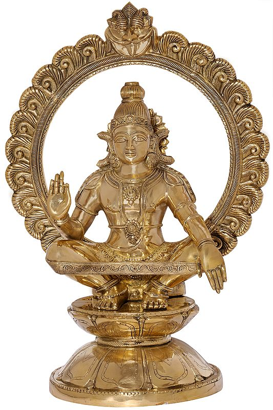 Superfine Large Ayyappan with a Lotus Kirtimukha Prabhawali