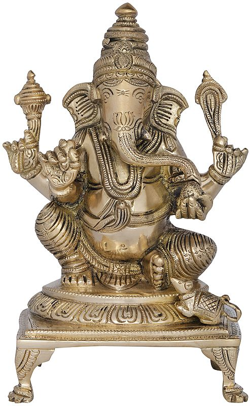Lord Ganesha in Royal Ease Posture Seated on a Chowki